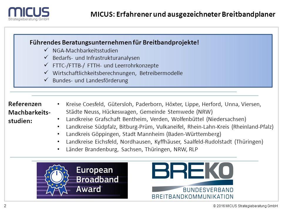 2 © 2016 MICUS Strategieberatung GmbH MICUS: Erfahrener und ausgezeichneter Breitbandplaner Referenzen Machbarkeits- studien: Kreise Coesfeld, Gütersl