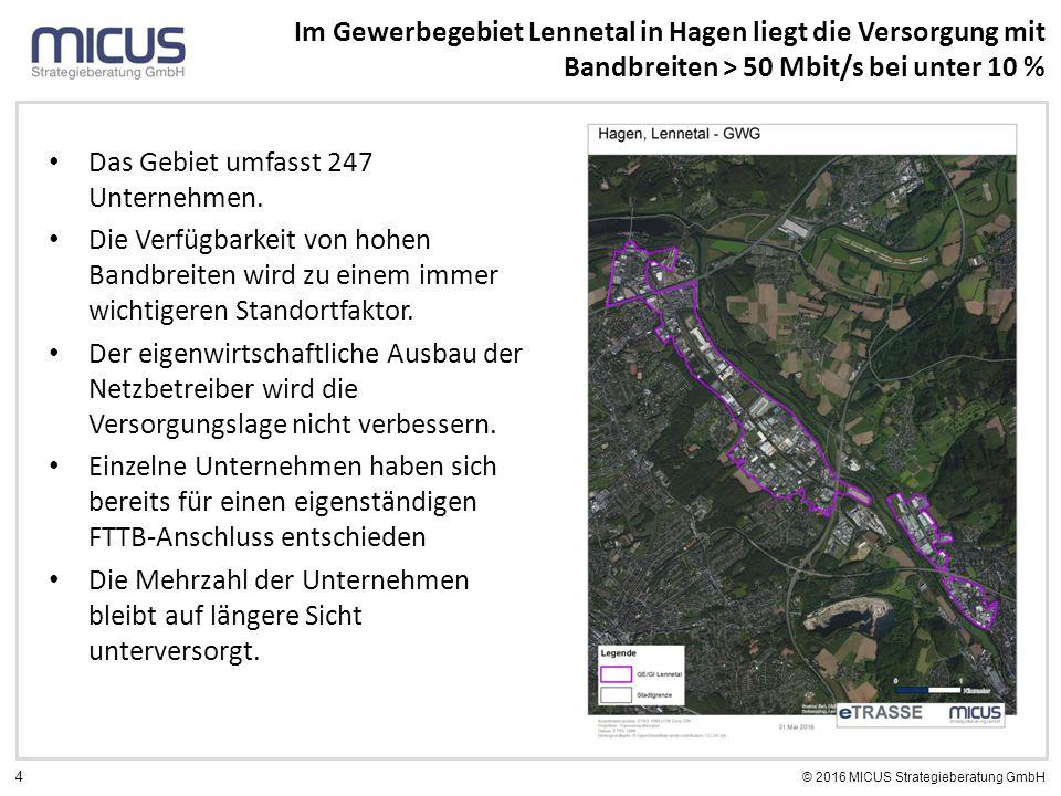 4 © 2016 MICUS Strategieberatung GmbH Das Gebiet umfasst 247 Unternehmen. Die Verfügbarkeit von hohen Bandbreiten wird zu einem immer wichtigeren Stan