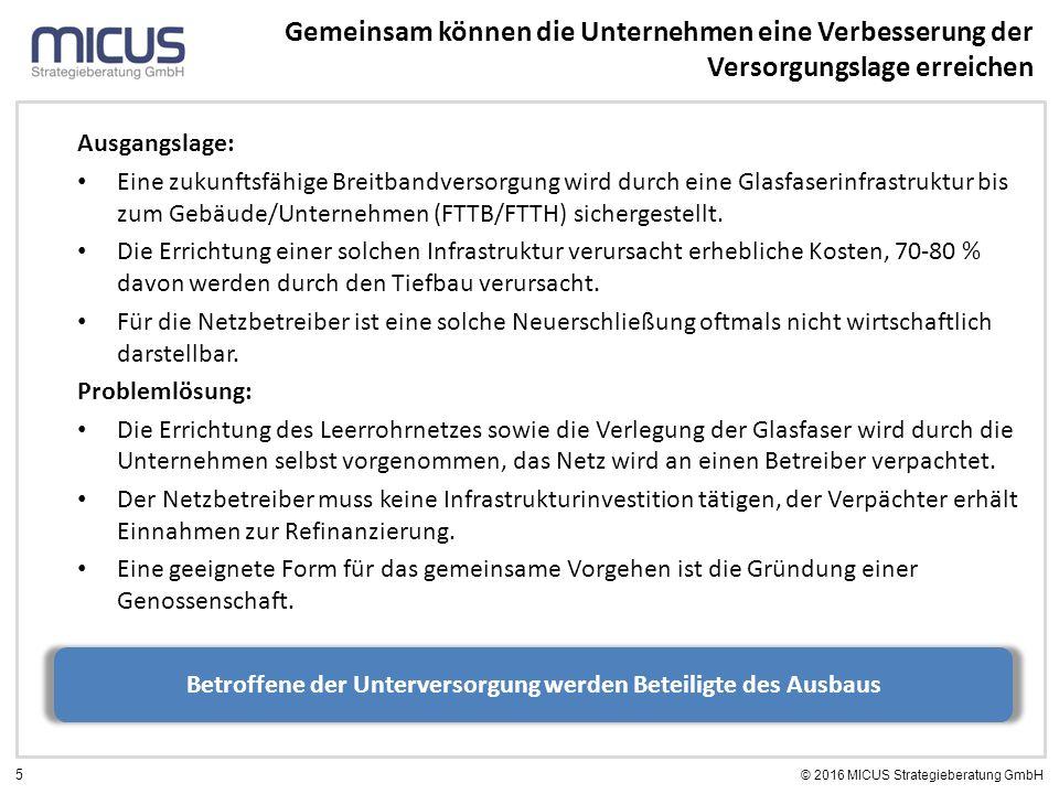 5 © 2016 MICUS Strategieberatung GmbH Gemeinsam können die Unternehmen eine Verbesserung der Versorgungslage erreichen Ausgangslage: Eine zukunftsfähige Breitbandversorgung wird durch eine Glasfaserinfrastruktur bis zum Gebäude/Unternehmen (FTTB/FTTH) sichergestellt.