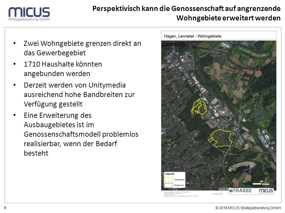 8 © 2016 MICUS Strategieberatung GmbH Zwei Wohngebiete grenzen direkt an das Gewerbegebiet 1710 Haushalte könnten angebunden werden Derzeit werden von