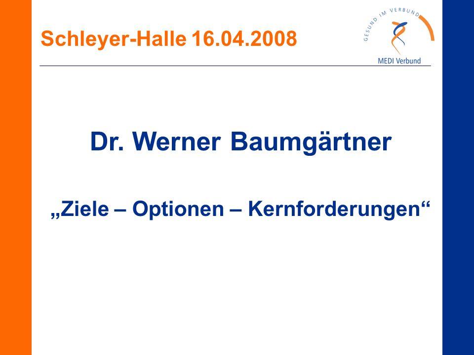 """Schleyer-Halle 16.04.2008 Dr. Werner Baumgärtner """"Ziele – Optionen – Kernforderungen"""""""