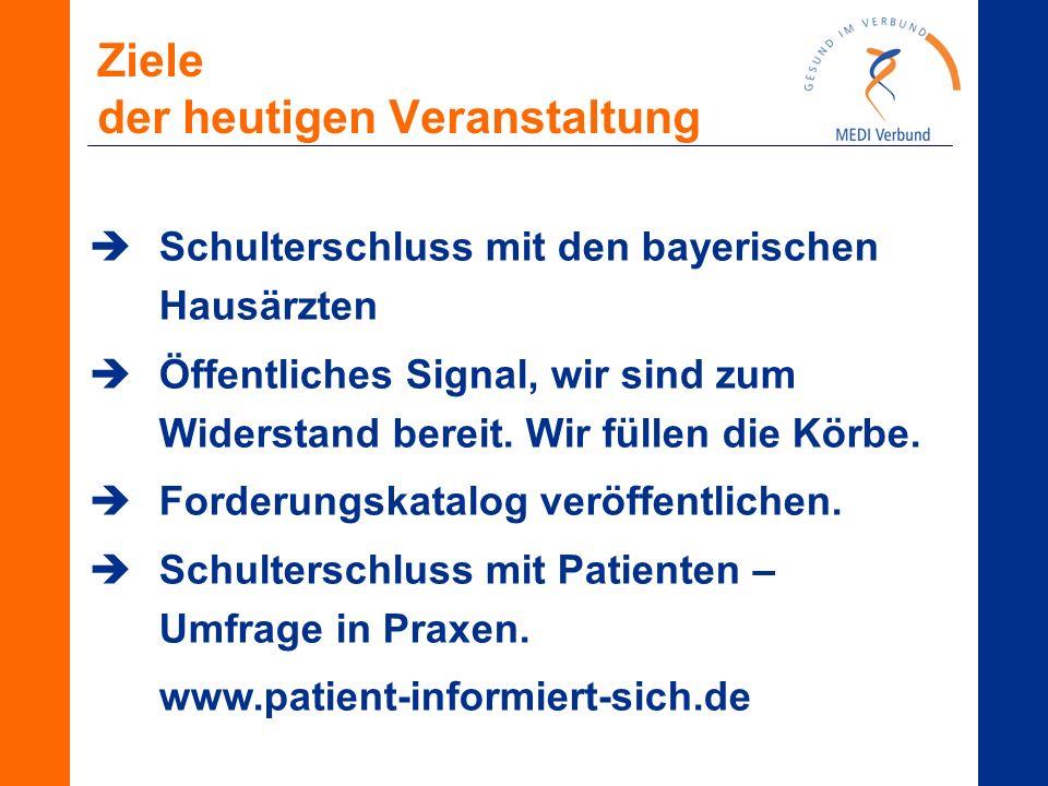 Ziele der heutigen Veranstaltung  Schulterschluss mit den bayerischen Hausärzten  Öffentliches Signal, wir sind zum Widerstand bereit. Wir füllen di