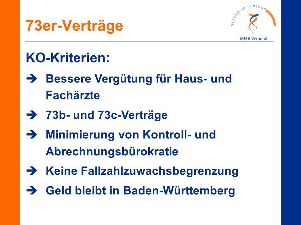 73er-Verträge KO-Kriterien:  Bessere Vergütung für Haus- und Fachärzte  73b- und 73c-Verträge  Minimierung von Kontroll- und Abrechnungsbürokratie