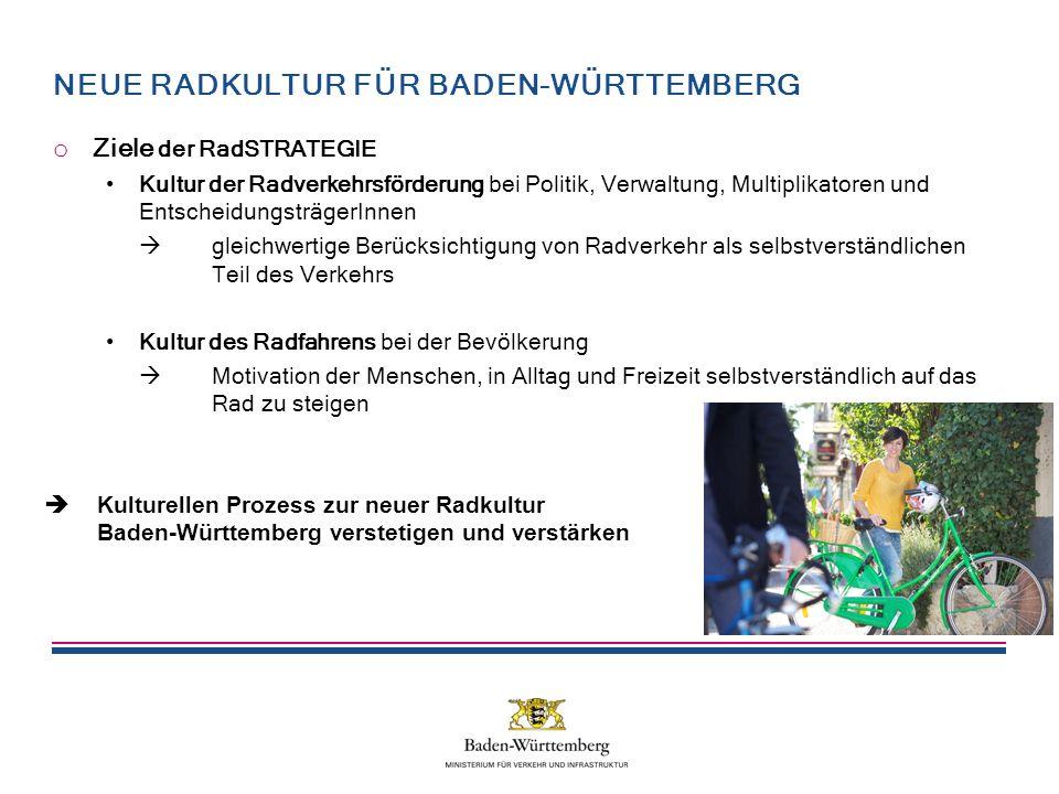 NEUE RADKULTUR FÜR BADEN-WÜRTTEMBERG o Ziele der RadSTRATEGIE Kultur der Radverkehrsförderung bei Politik, Verwaltung, Multiplikatoren und EntscheidungsträgerInnen  gleichwertige Berücksichtigung von Radverkehr als selbstverständlichen Teil des Verkehrs Kultur des Radfahrens bei der Bevölkerung  Motivation der Menschen, in Alltag und Freizeit selbstverständlich auf das Rad zu steigen  Kulturellen Prozess zur neuer Radkultur Baden-Württemberg verstetigen und verstärken