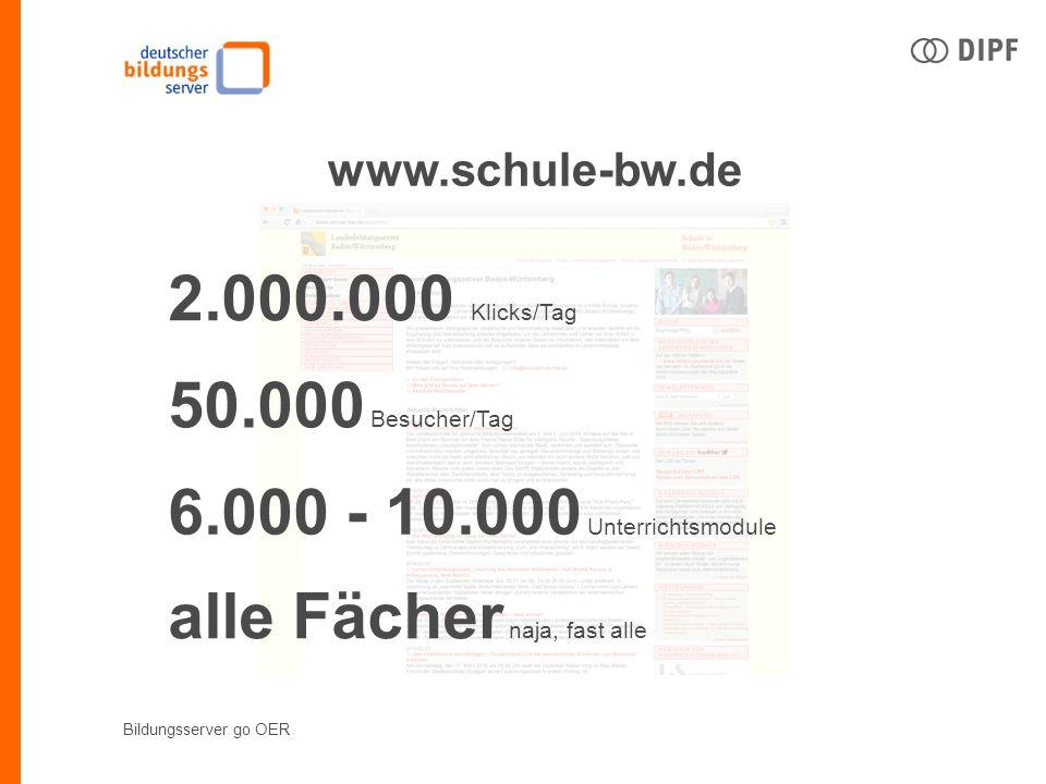 Bildungsserver go OER www.schule-bw.de 2.000.000 Klicks/Tag 50.000 Besucher/Tag 6.000 - 10.000 Unterrichtsmodule alle Fächer naja, fast alle