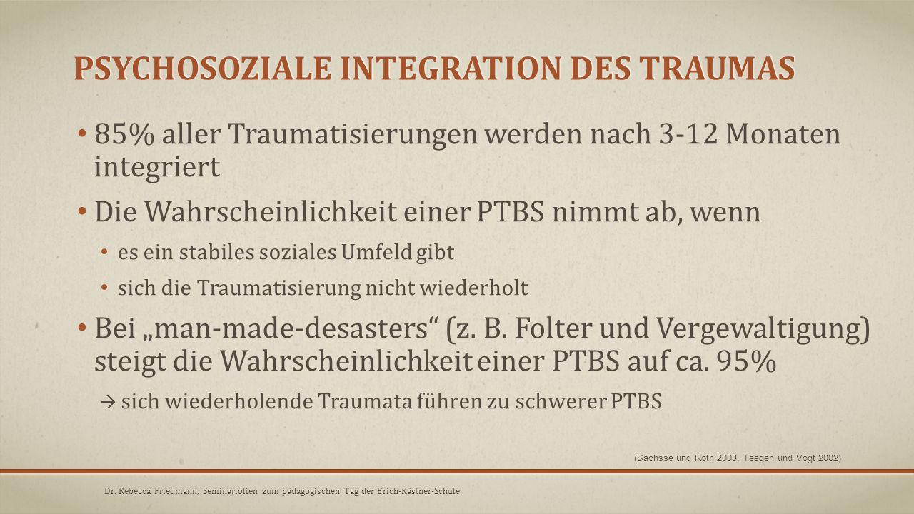 PSYCHOSOZIALE INTEGRATION DES TRAUMAS 85% aller Traumatisierungen werden nach 3-12 Monaten integriert Die Wahrscheinlichkeit einer PTBS nimmt ab, wenn