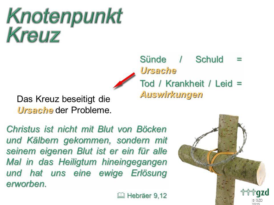  GZD 2015 Sünde / Schuld = Ursache Tod / Krankheit / Leid = Auswirkungen Ursache Das Kreuz beseitigt die Ursache der Probleme. Christus ist nicht mit