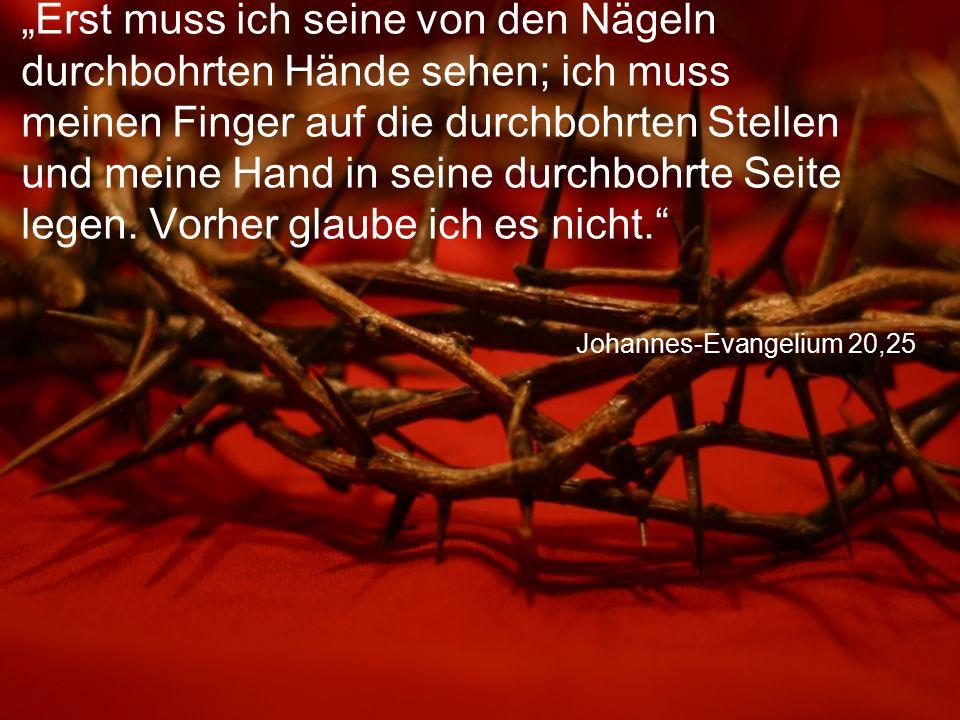 """Johannes-Evangelium 20,25 """"Erst muss ich seine von den Nägeln durchbohrten Hände sehen; ich muss meinen Finger auf die durchbohrten Stellen und meine"""