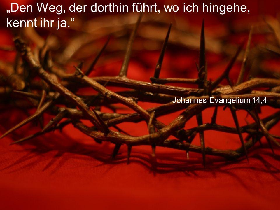 """Johannes-Evangelium 14,4 """"Den Weg, der dorthin führt, wo ich hingehe, kennt ihr ja."""""""