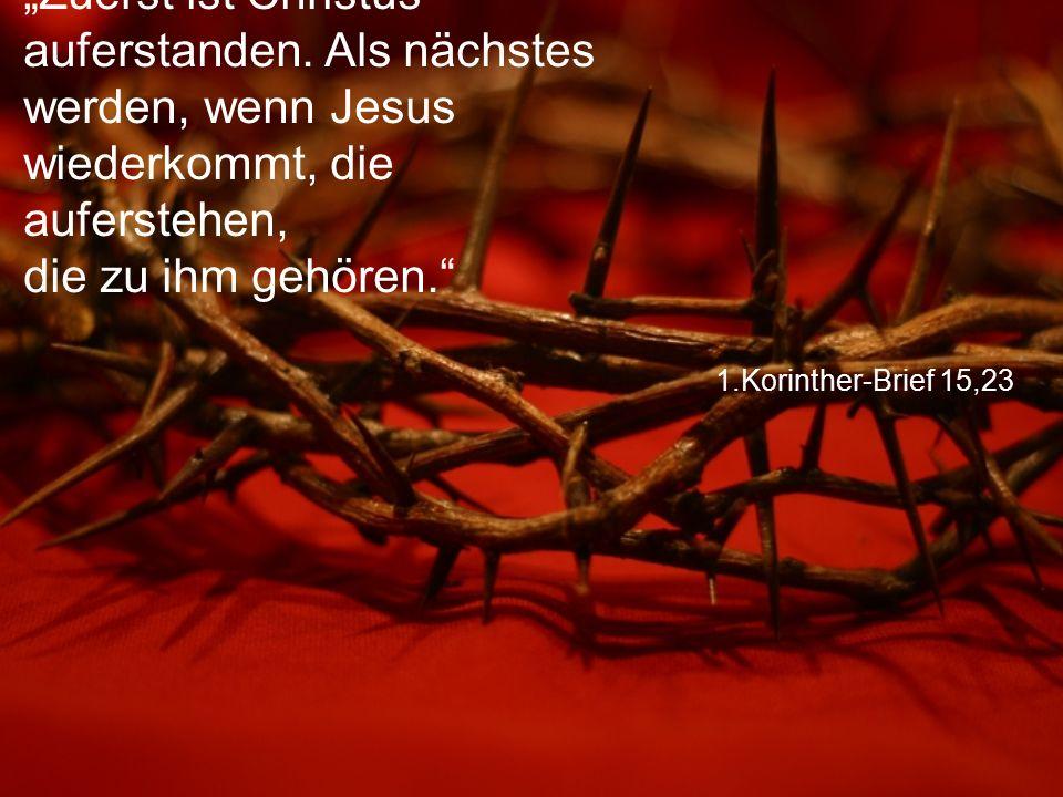 """1.Korinther-Brief 15,23 """"Zuerst ist Christus auferstanden. Als nächstes werden, wenn Jesus wiederkommt, die auferstehen, die zu ihm gehören."""""""