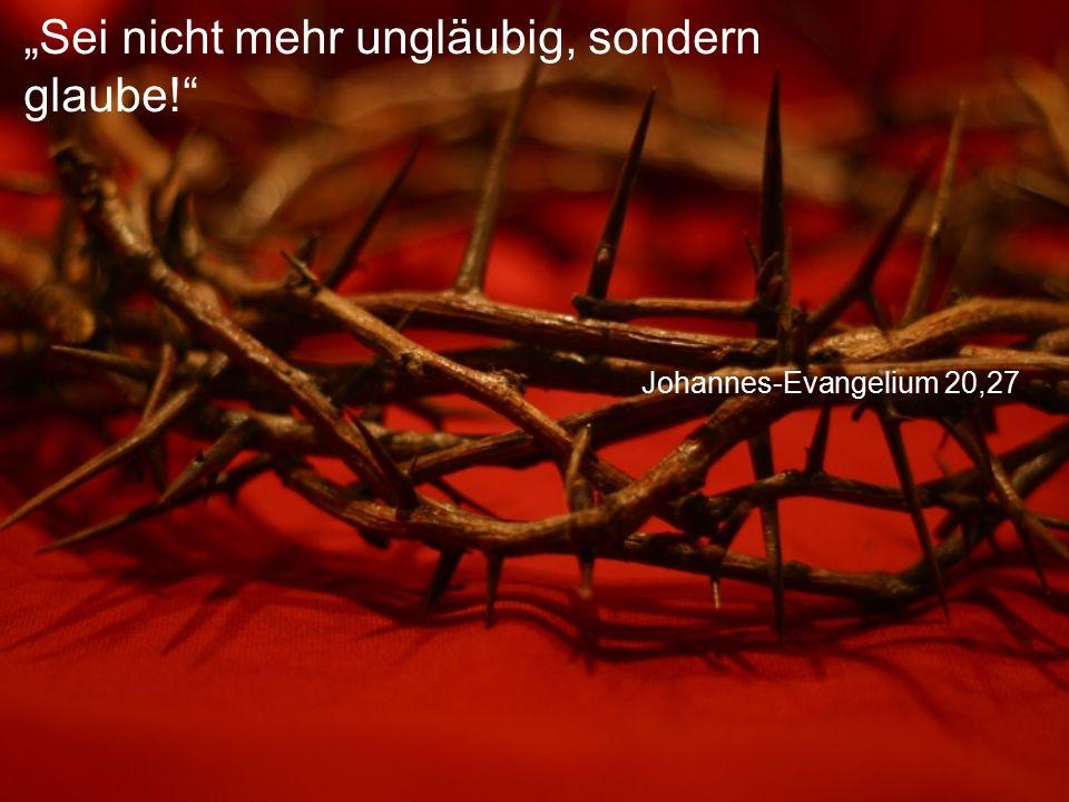 """Johannes-Evangelium 20,27 """"Sei nicht mehr ungläubig, sondern glaube!"""""""