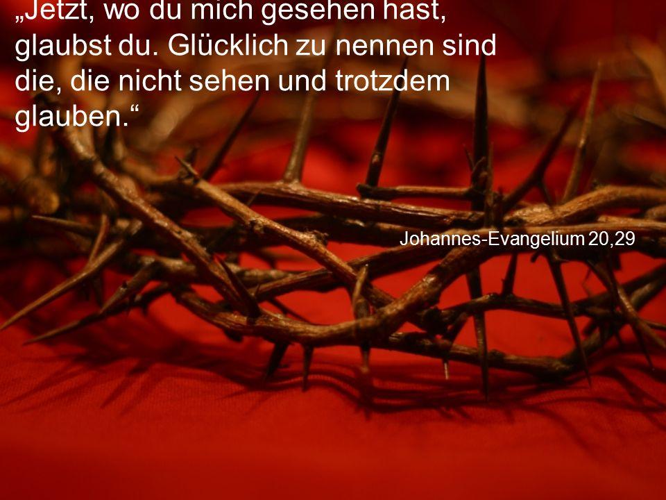 """Johannes-Evangelium 20,29 """"Jetzt, wo du mich gesehen hast, glaubst du. Glücklich zu nennen sind die, die nicht sehen und trotzdem glauben."""""""