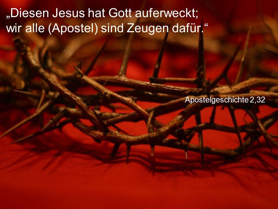 """Apostelgeschichte 2,32 """"Diesen Jesus hat Gott auferweckt; wir alle (Apostel) sind Zeugen dafür."""""""