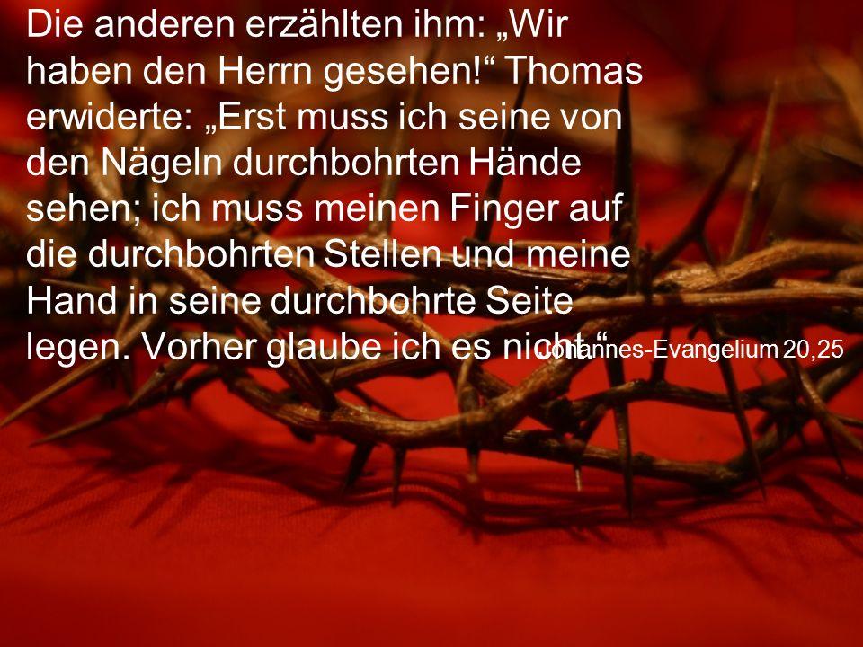 """Johannes-Evangelium 20,25 Die anderen erzählten ihm: """"Wir haben den Herrn gesehen!"""" Thomas erwiderte: """"Erst muss ich seine von den Nägeln durchbohrten"""
