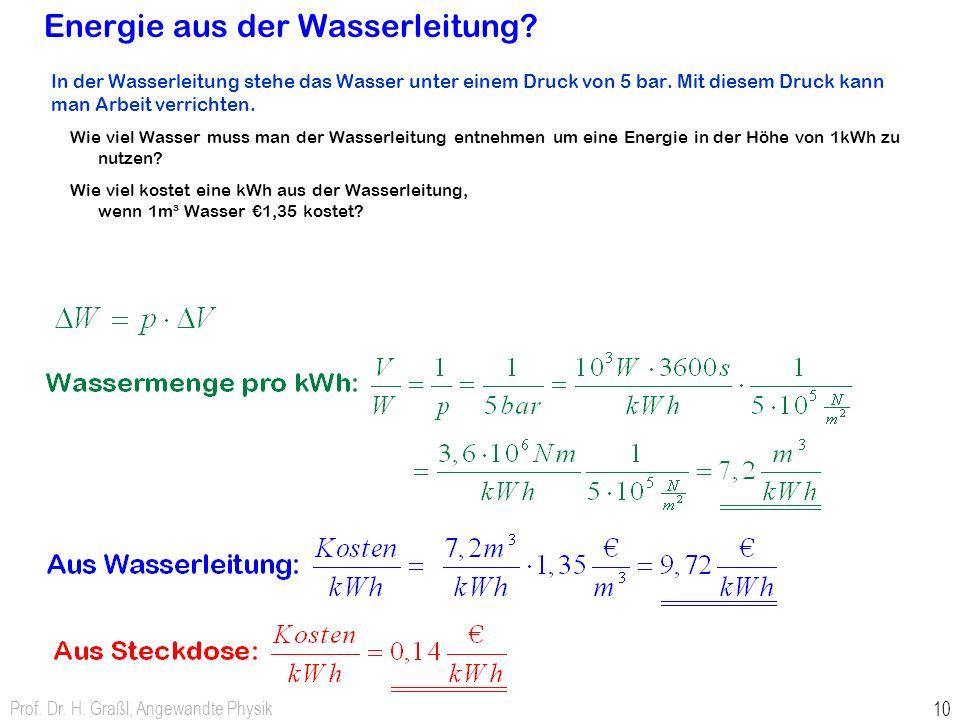 Präsenzübung: Energie aus der Wasserleitung? Name: In der Wasserleitung stehe das Wasser unter einem Druck von 5 bar. Mit diesem Druck kann man Arbeit
