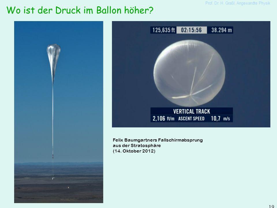 Tatsächlicher Druckverlauf in Atmosphäre Prof. Dr. H. Graßl, Angewandte Physik 18 Verlauf nach barometrischer Höhenformel