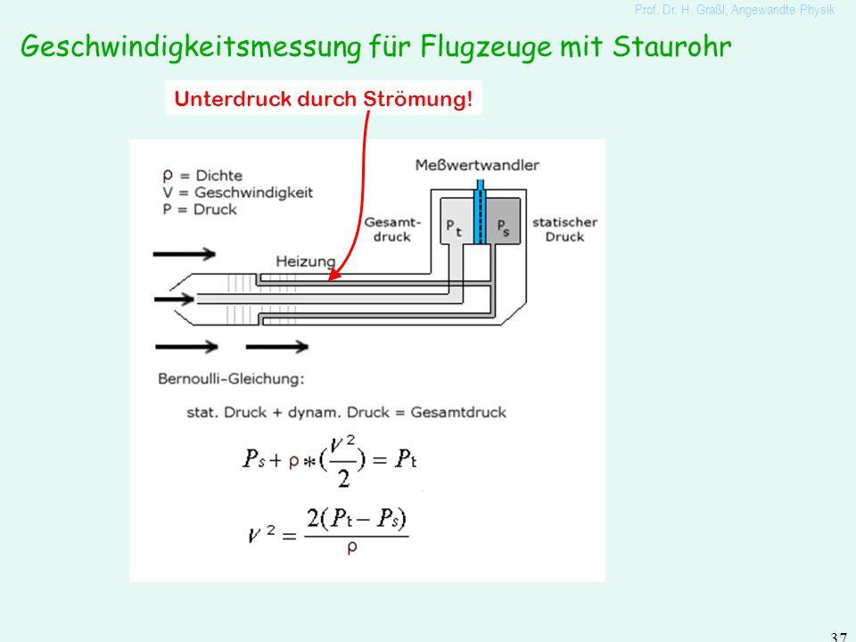 Prof. Dr. H. Graßl, Angewandte Physik 36 Druck und Energie entlang einer Wasserleitung (ohne Reibung) auch durch hydrostatischen Druck ist in Flüssigk