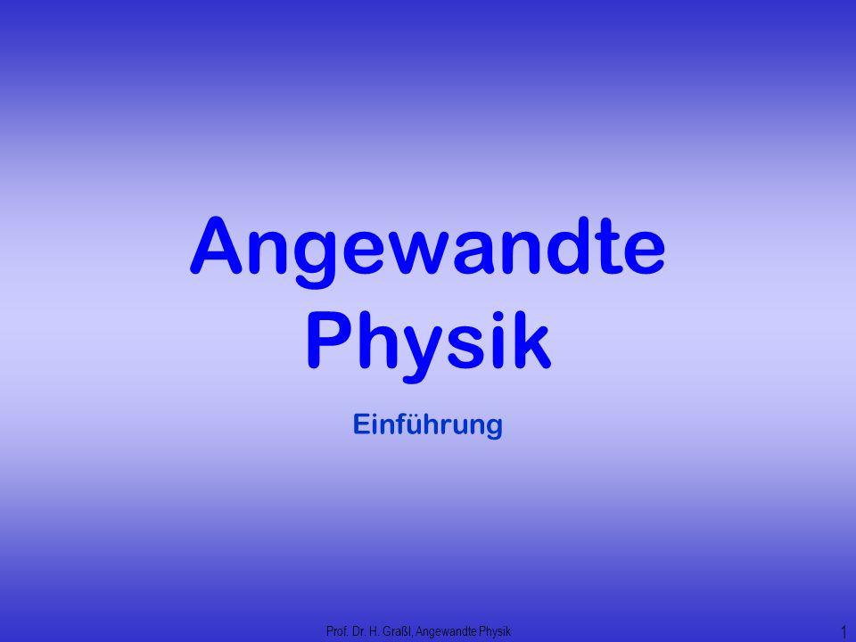 Angewandte Physik Einführung Prof. Dr. H. Graßl, Angewandte Physik 1