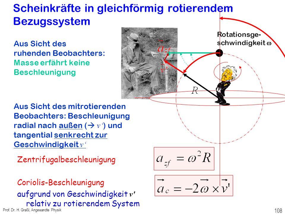 """Nicht-Inertialsysteme Die Beobachtung, dass eine Masse beschleunigt wird, ohne dass wirklich eine Kraft wirkt, widerspricht Newtons Gesetz """"Masse x Be"""