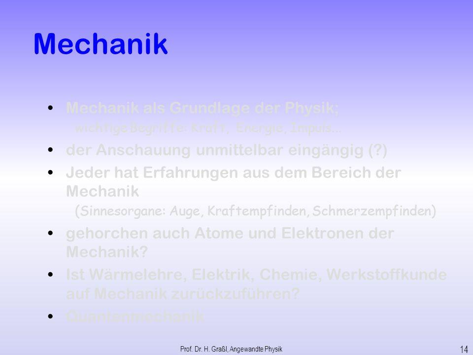 Angewandte Physik 1. Mechanik Light Prof. Dr. H. Graßl, Angewandte Physik 13