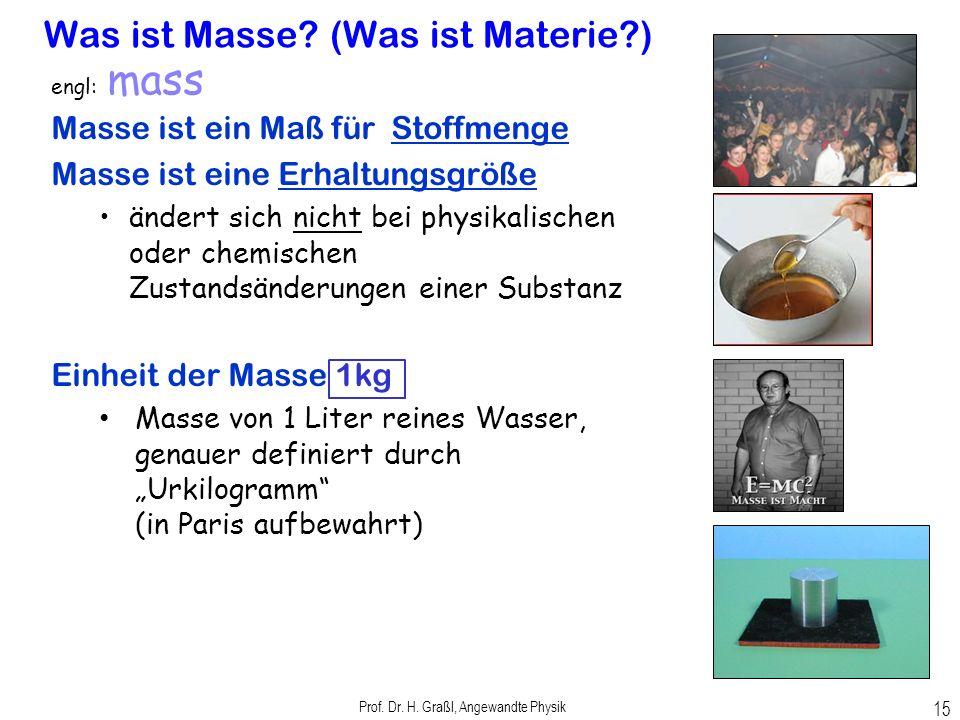 Prof. Dr. H. Graßl, Angewandte Physik 14 Mechanik Mechanik als Grundlage der Physik; wichtige Begriffe: Kraft, Energie, Impuls... der Anschauung unmit