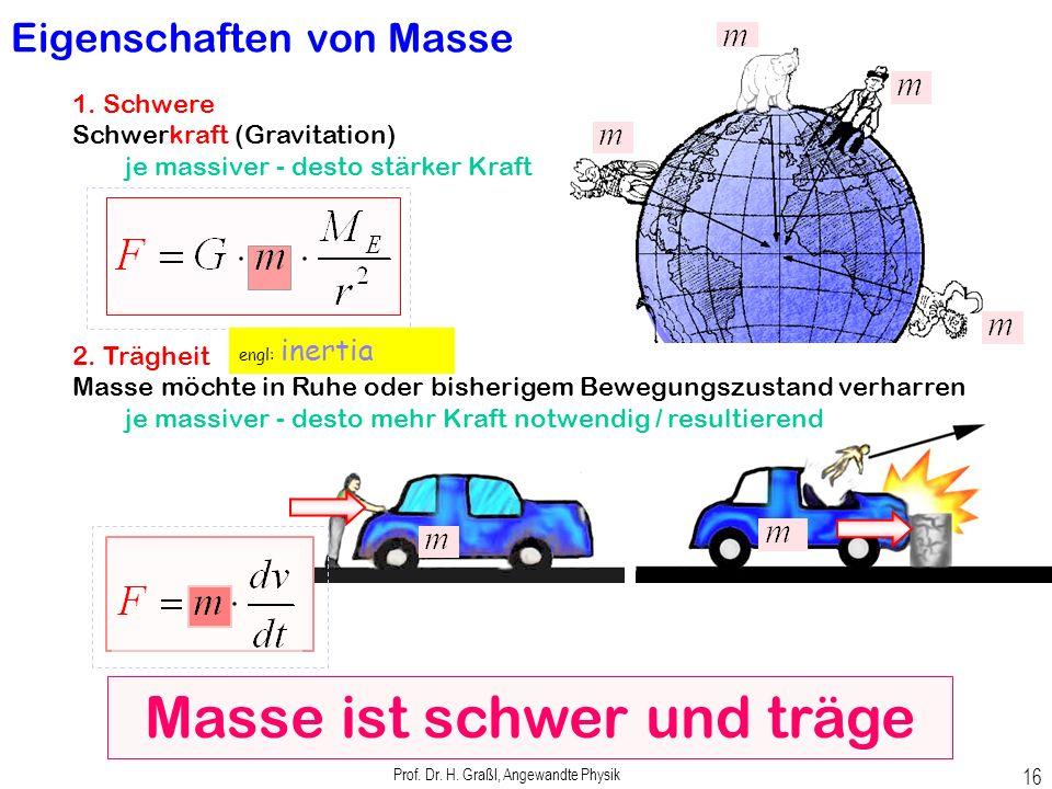 Prof. Dr. H. Graßl, Angewandte Physik 15 Masse ist ein Maß für Stoffmenge Masse ist eine Erhaltungsgröße ändert sich nicht bei physikalischen oder che