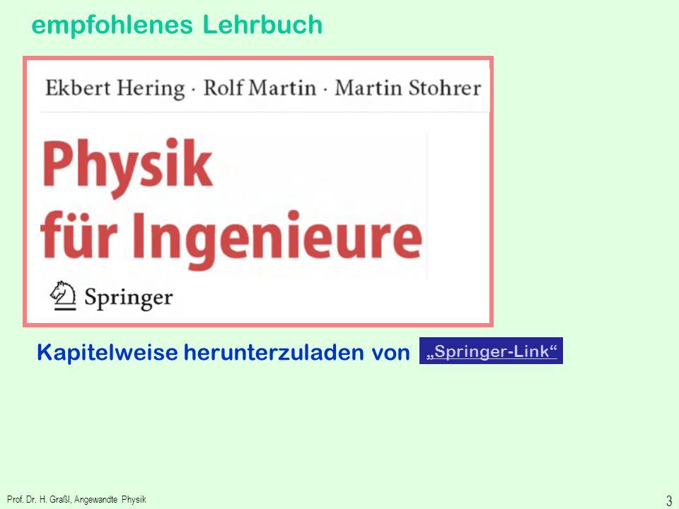 Prof. Dr. Hans Grassl Prof. Dr. H. Graßl, Angewandte Physik 2 Meine Home-Page: http://people.fh-landshut.de/~grl/ http://people.fh-landshut.de/~grl/ A