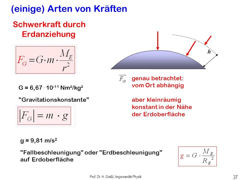 Prof. Dr. H. Graßl, Angewandte Physik 36 Übungsbeispiel: Gewicht Masse m = 200 kg l 2 =280cm l 1 =230cm h 1 = 100cmh 2 = 200cm Welche Spannungskräfte