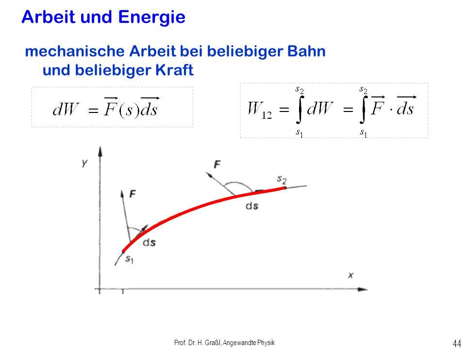 Prof. Dr. H. Graßl, Angewandte Physik 43 Arbeit und Energie genauer: Arbeit W = Weg s x Komponente der Kraft in Richtung des Weges Arbeit ist Kraft ma