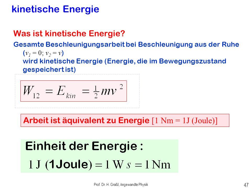 Prof. Dr. H. Graßl, Angewandte Physik 46 Beschleunigungsarbeit Beschleunigungsarbeit gegen die Trägheitsmkraft t der beschleunigten Masse (2.33)
