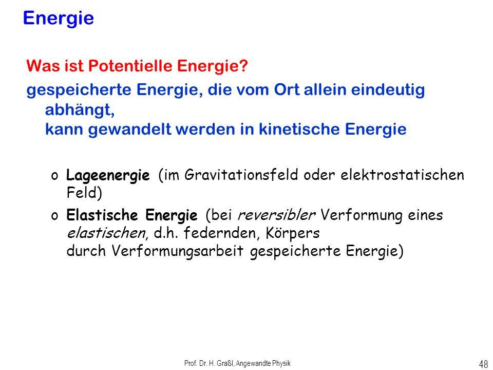 Prof. Dr. H. Graßl, Angewandte Physik 47 kinetische Energie Was ist kinetische Energie? Gesamte Beschleunigungsarbeit bei Beschleunigung aus der Ruhe
