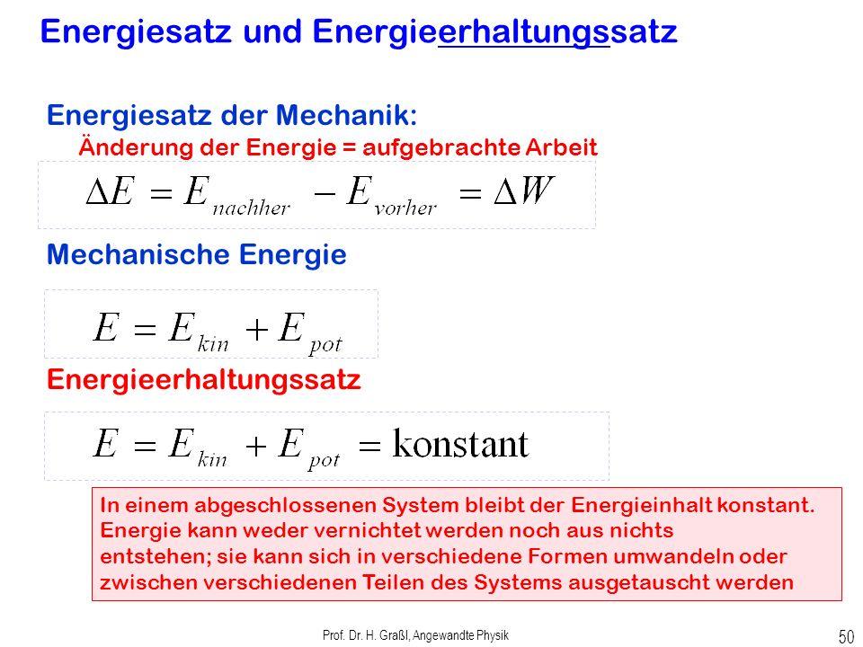 potenzielle Energie in einer gespannten Feder Prof. Dr. H. Graßl, Angewandte Physik 49 Arbeit beim Dehnen der Feder Potenzielle Energie in Feder: ½ ma