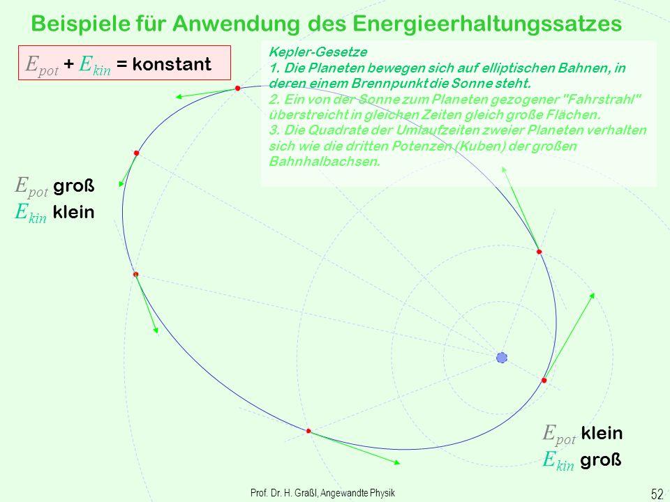 Prof. Dr. H. Graßl, Angewandte Physik 51 Energieerhaltungssatz Allgemeingültig ist der Energieerhaltungssatz erst, wenn noch andere als mechanische En