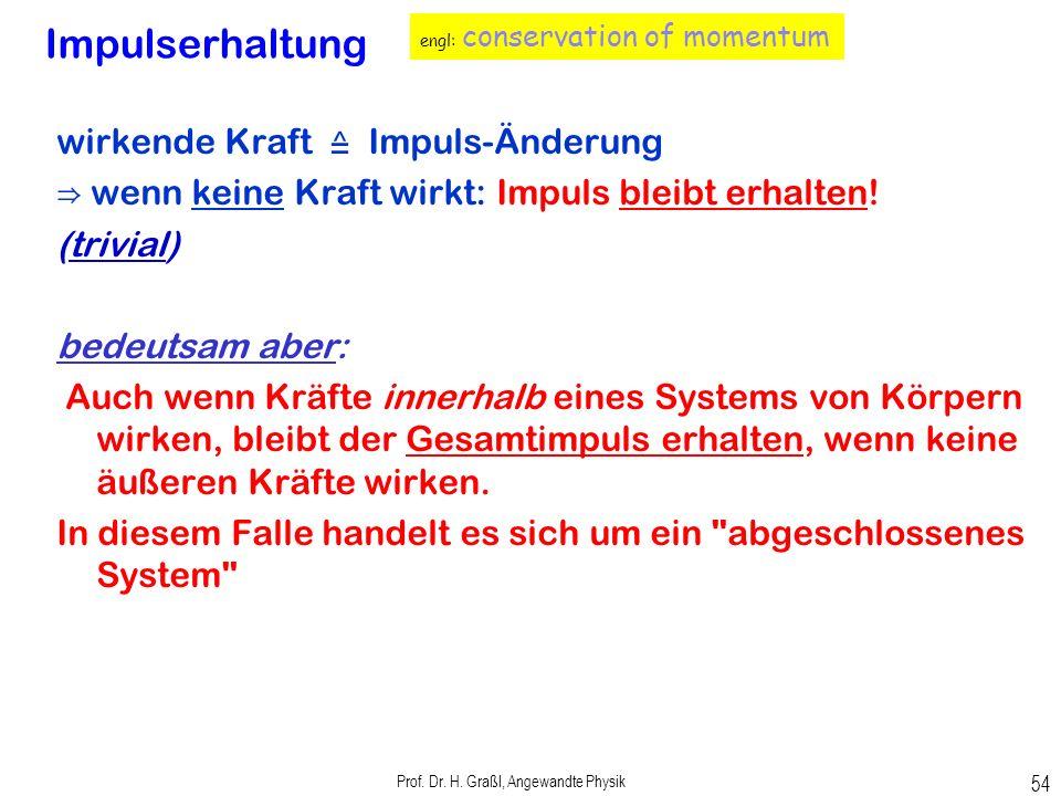 Prof. Dr. H. Graßl, Angewandte Physik 53 Energieen für verschiedene Satellitenbahnen Kreisbahn E pot + E kin = Gesamtenergie eines Satelliten Wie kann