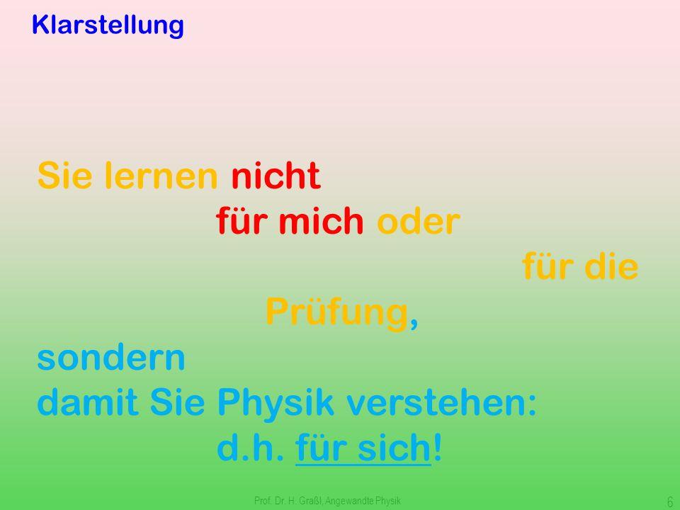Prof. Dr. H. Graßl, Angewandte Physik 5 Motivation 1.Physik erweitert unser Weltverständnis 2.Als Ingenieure brauchen wir Physik