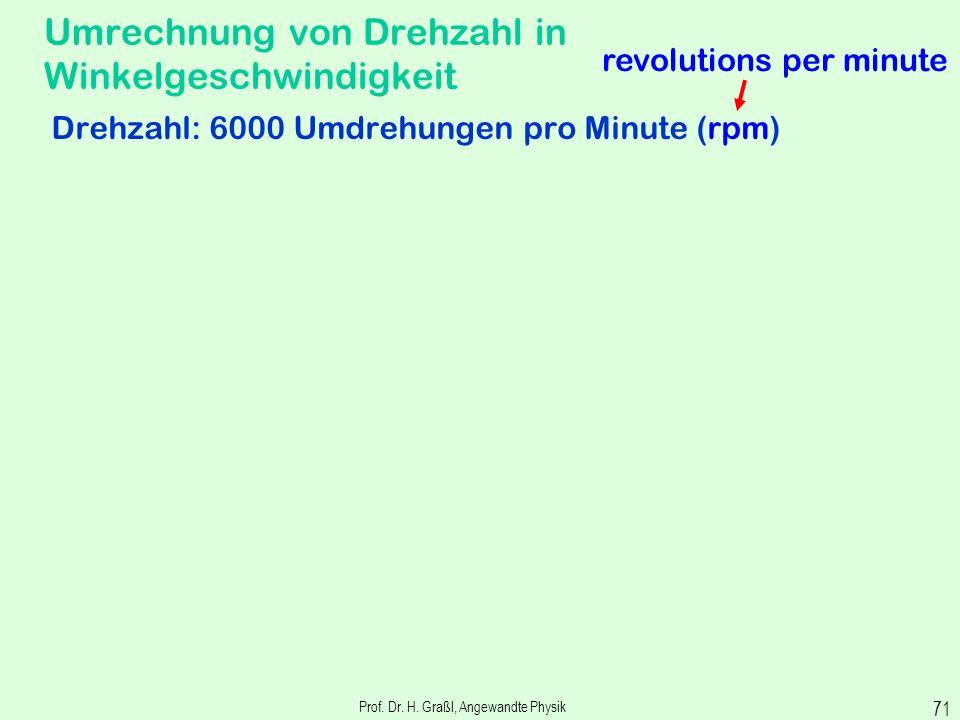Prof. Dr. H. Graßl, Angewandte Physik 70 Zusammenhang zwischen Winkelgeschwindigkeit und linearer Geschwindigkeit Omega ist gleich vau durch err Winke