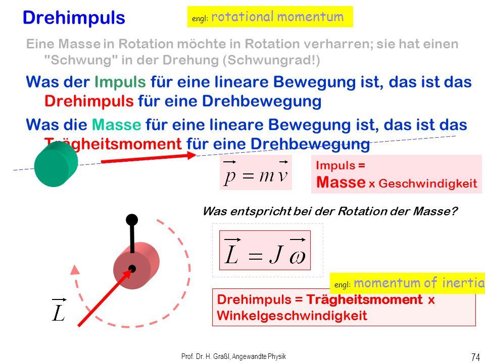 Prof. Dr. H. Graßl, Angewandte Physik 73 Drehbewegungen Drehmoment Was die Kraft für eine lineare Bewegung ist, das ist das Drehmoment für eine Drehbe