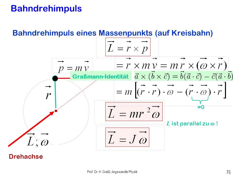 Prof. Dr. H. Graßl, Angewandte Physik 75 Drehimpuls Unterscheide: Bahndrehimpuls einer Masse auf Bahn relativ zu externer Drehachse Drehachse Eigendre