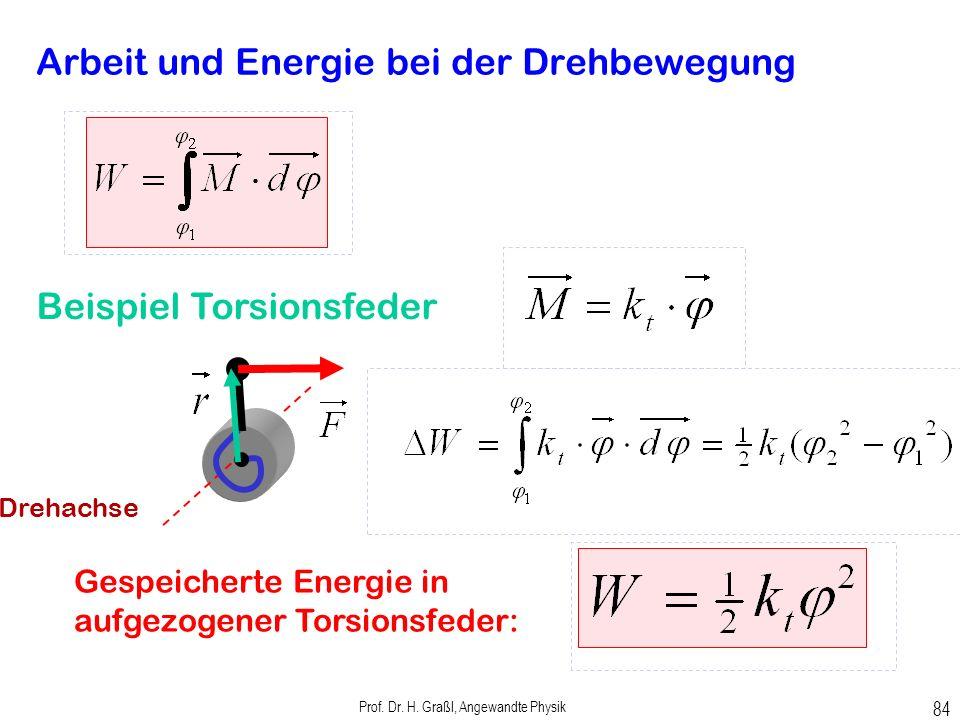Prof. Dr. H. Graßl, Angewandte Physik 83 Arbeit bei der Drehbewegung Rechenregel (