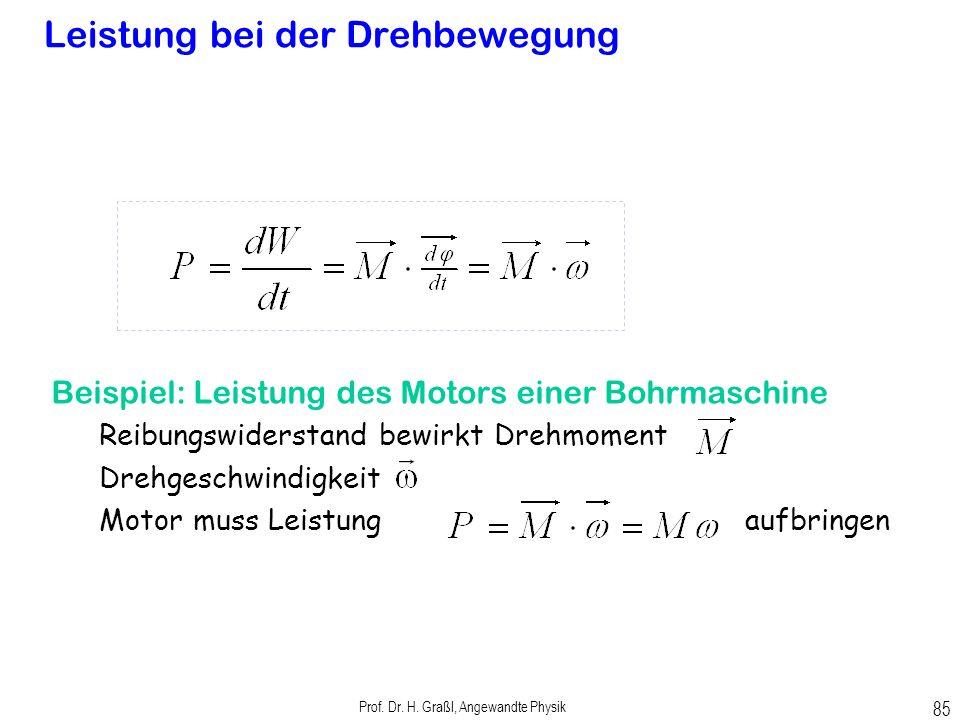 Prof. Dr. H. Graßl, Angewandte Physik 84 Arbeit und Energie bei der Drehbewegung Drehachse Beispiel Torsionsfeder Gespeicherte Energie in aufgezogener
