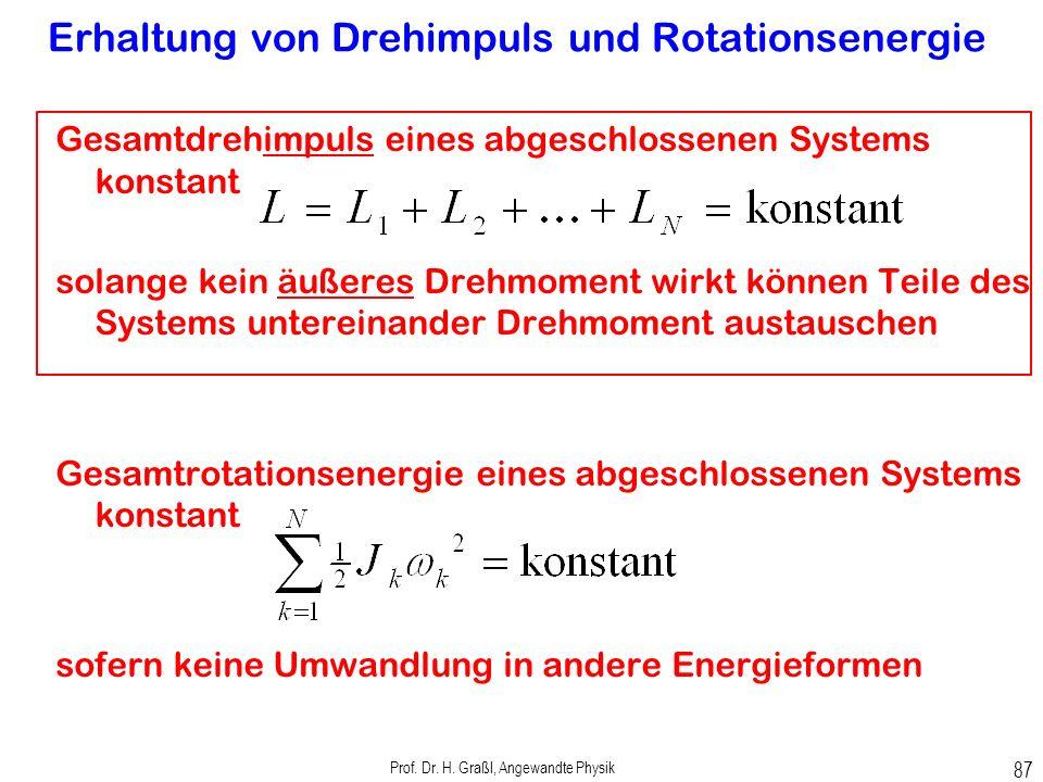 Prof. Dr. H. Graßl, Angewandte Physik 86 Kinetische Rotationsenergie Um Achse rotierende punktförmige Masse
