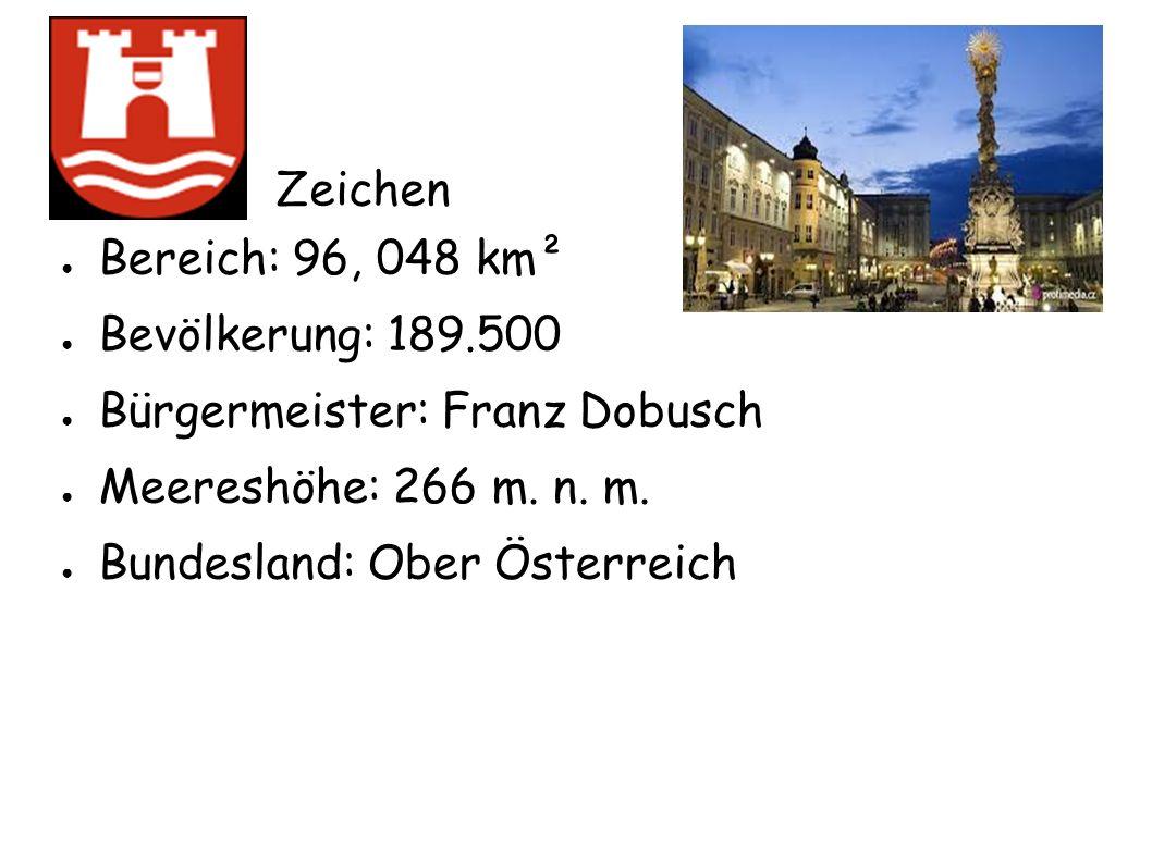 ● Bereich: 96, 048 km² ● Bevölkerung: 189.500 ● Bürgermeister: Franz Dobusch ● Meereshöhe: 266 m. n. m. ● Bundesland: Ober Österreich Zeichen