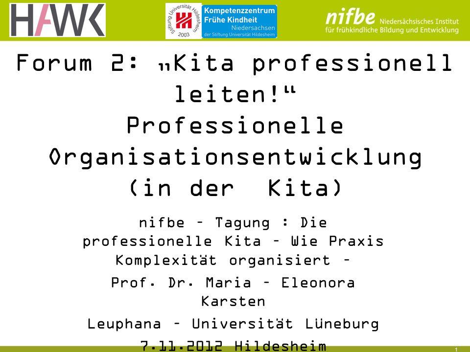 """1 Forum 2: """"Kita professionell leiten! Professionelle Organisationsentwicklung (in der Kita) nifbe – Tagung : Die professionelle Kita – Wie Praxis Komplexität organisiert – Prof."""