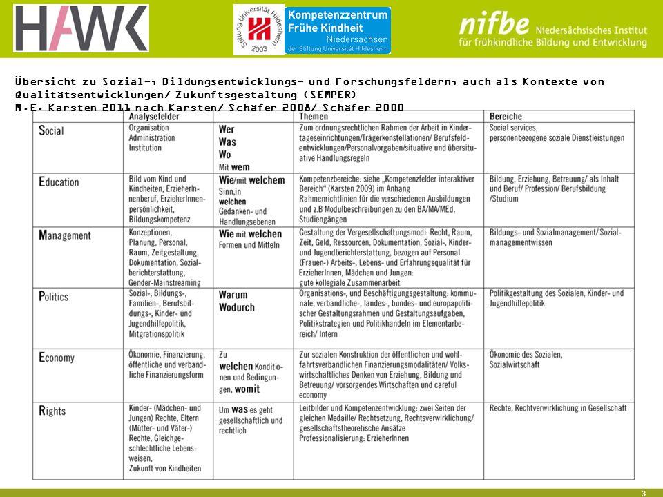 3 Übersicht zu Sozial-, Bildungsentwicklungs- und Forschungsfeldern, auch als Kontexte von Qualitätsentwicklungen/ Zukunftsgestaltung (SEMPER) M.E.