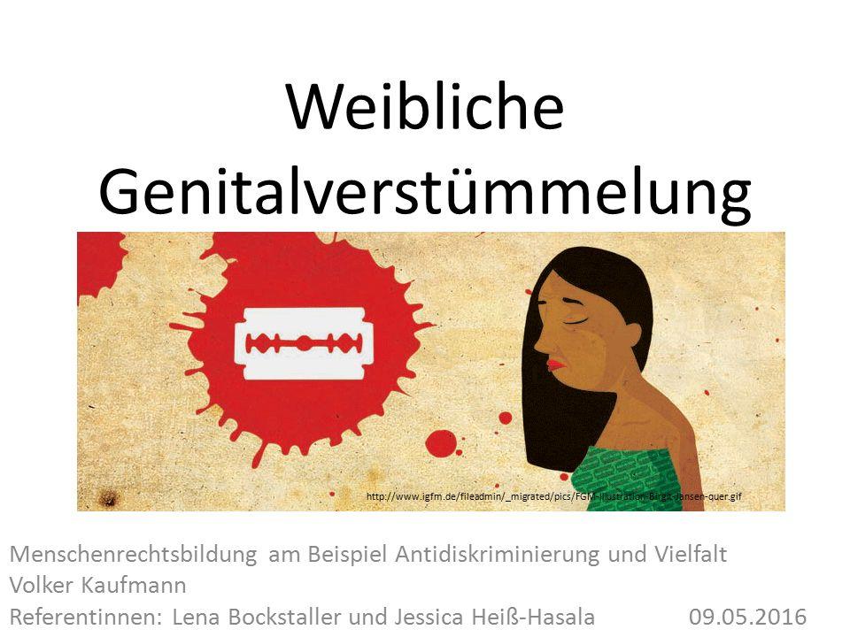 Weibliche Genitalverstümmelung Menschenrechtsbildung am Beispiel Antidiskriminierung und Vielfalt Volker Kaufmann Referentinnen: Lena Bockstaller und Jessica Heiß-Hasala09.05.2016 http://www.igfm.de/fileadmin/_migrated/pics/FGM-Illustration-Birgit-Jansen-quer.gif
