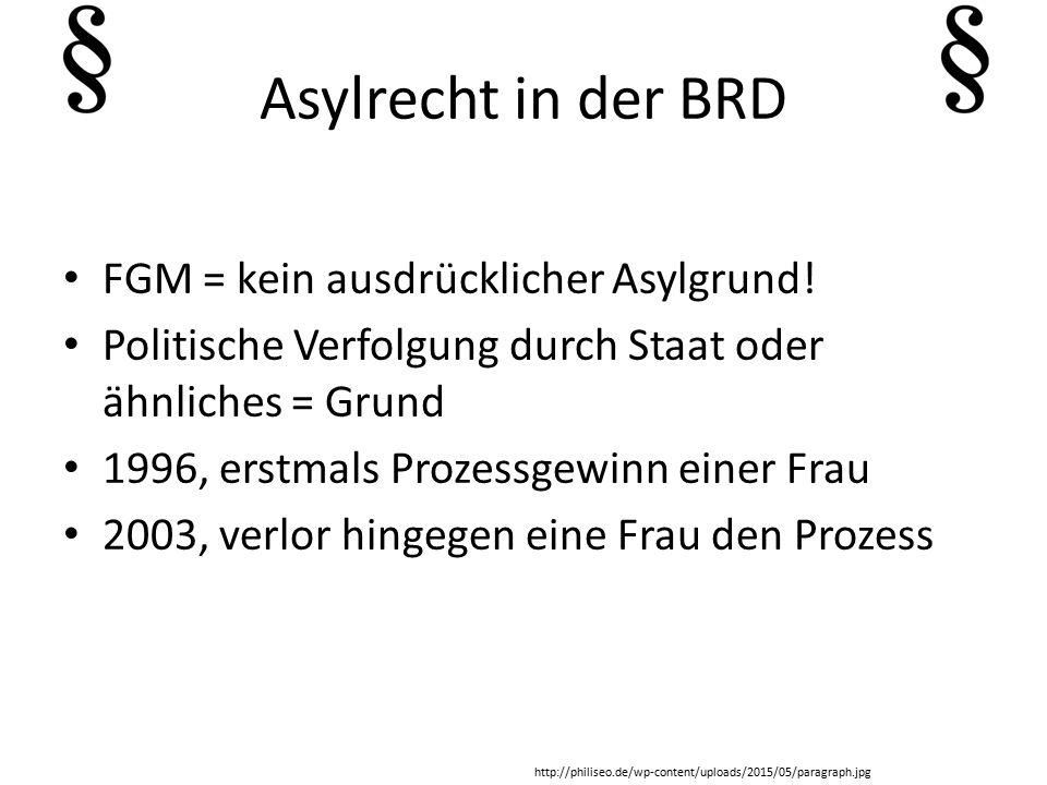 Asylrecht in der BRD FGM = kein ausdrücklicher Asylgrund.