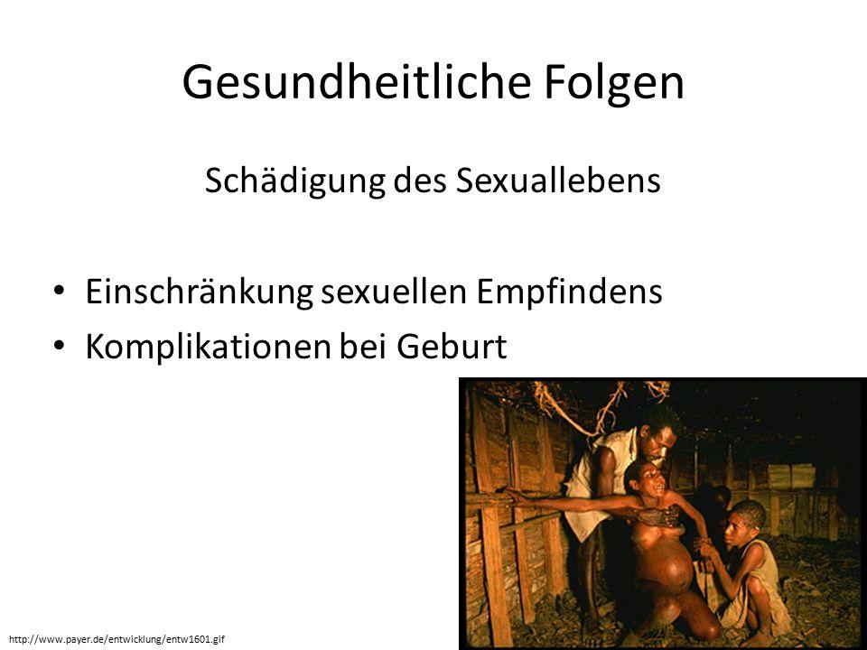Gesundheitliche Folgen Schädigung des Sexuallebens Einschränkung sexuellen Empfindens Komplikationen bei Geburt http://www.payer.de/entwicklung/entw1601.gif