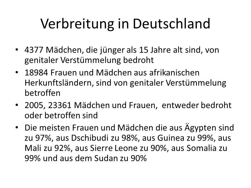 Verbreitung in Deutschland 4377 Mädchen, die jünger als 15 Jahre alt sind, von genitaler Verstümmelung bedroht 18984 Frauen und Mädchen aus afrikanischen Herkunftsländern, sind von genitaler Verstümmelung betroffen 2005, 23361 Mädchen und Frauen, entweder bedroht oder betroffen sind Die meisten Frauen und Mädchen die aus Ägypten sind zu 97%, aus Dschibudi zu 98%, aus Guinea zu 99%, aus Mali zu 92%, aus Sierre Leone zu 90%, aus Somalia zu 99% und aus dem Sudan zu 90%