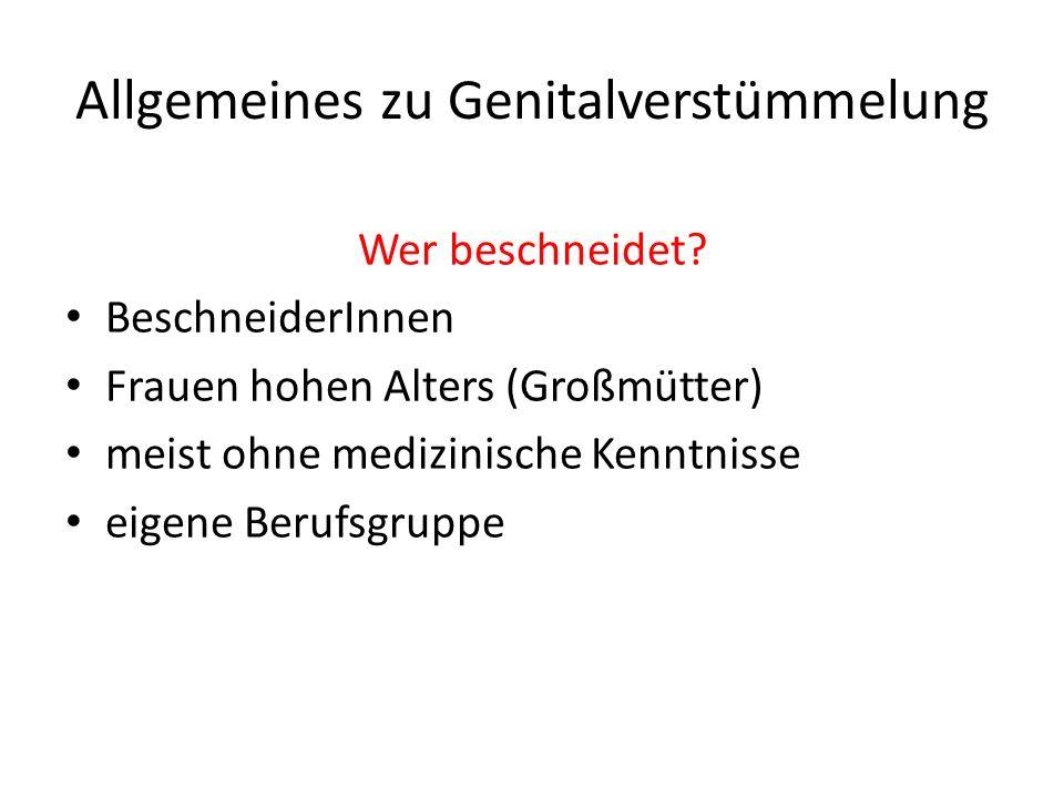 Allgemeines zu Genitalverstümmelung Wer beschneidet.