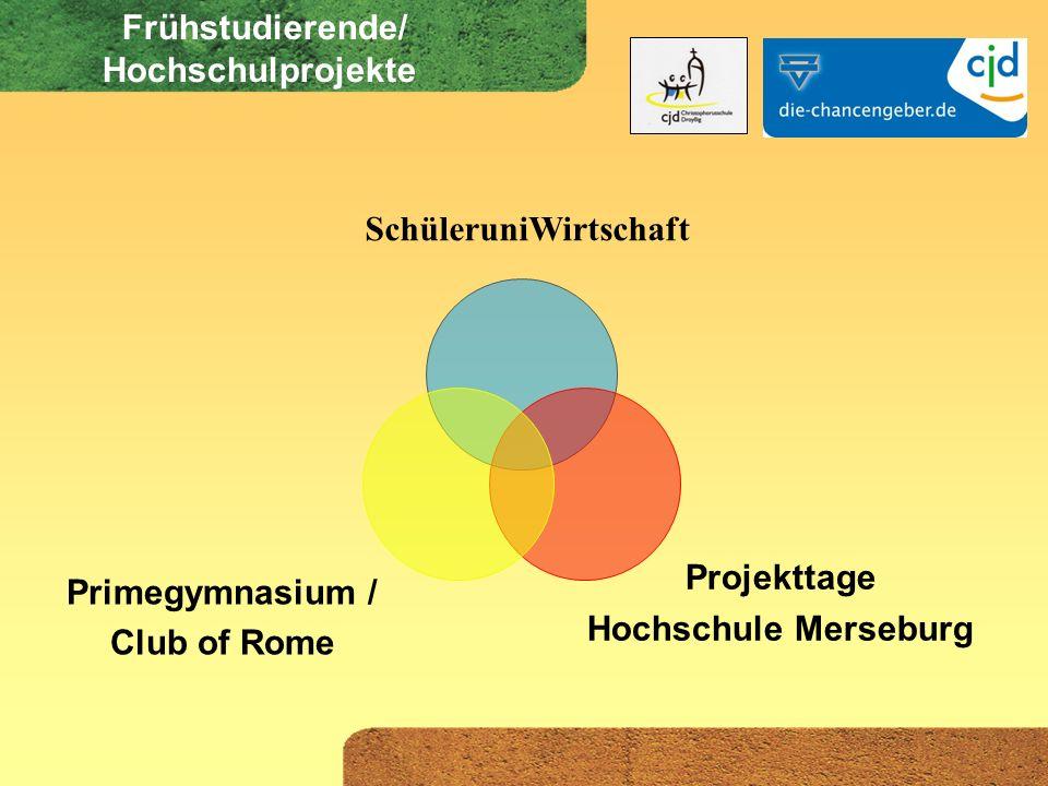 Frühstudierende/ Hochschulprojekte SchüleruniWirtschaft Primegymnasium / Club of Rome Projekttage Hochschule Merseburg